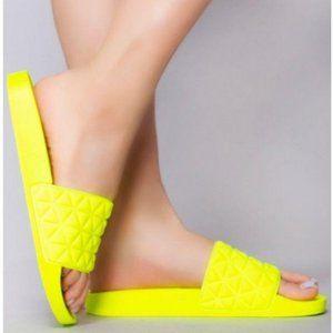 Neon Yellow Neoprene Slides